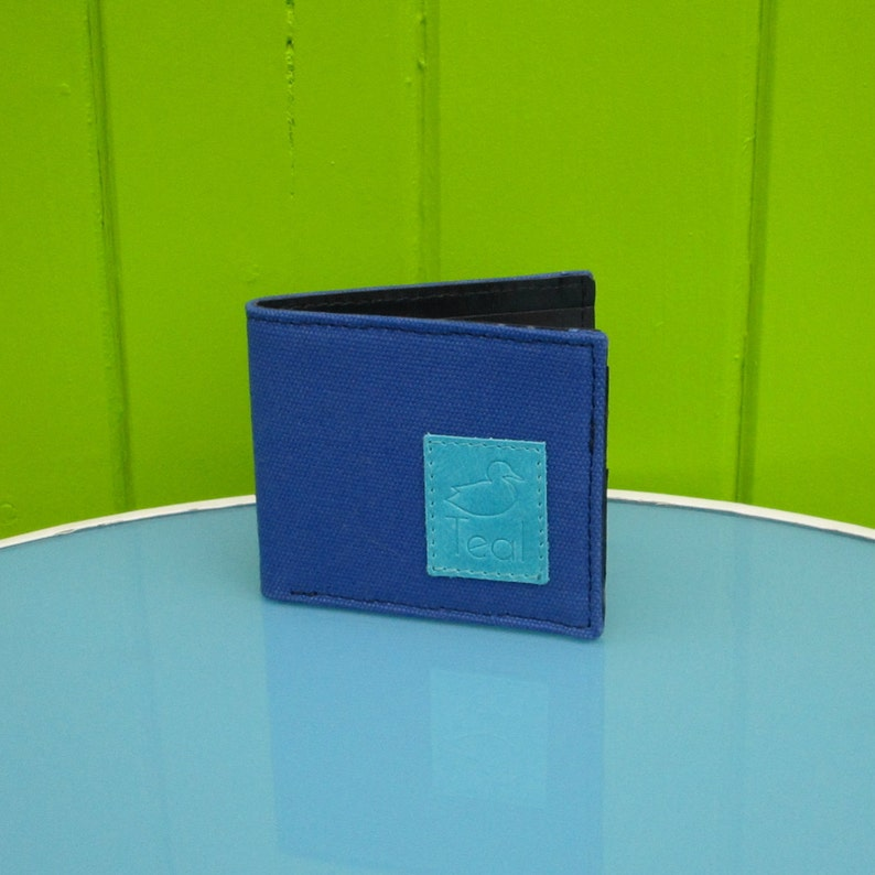 Royal blue canvas and leather wallet image 0