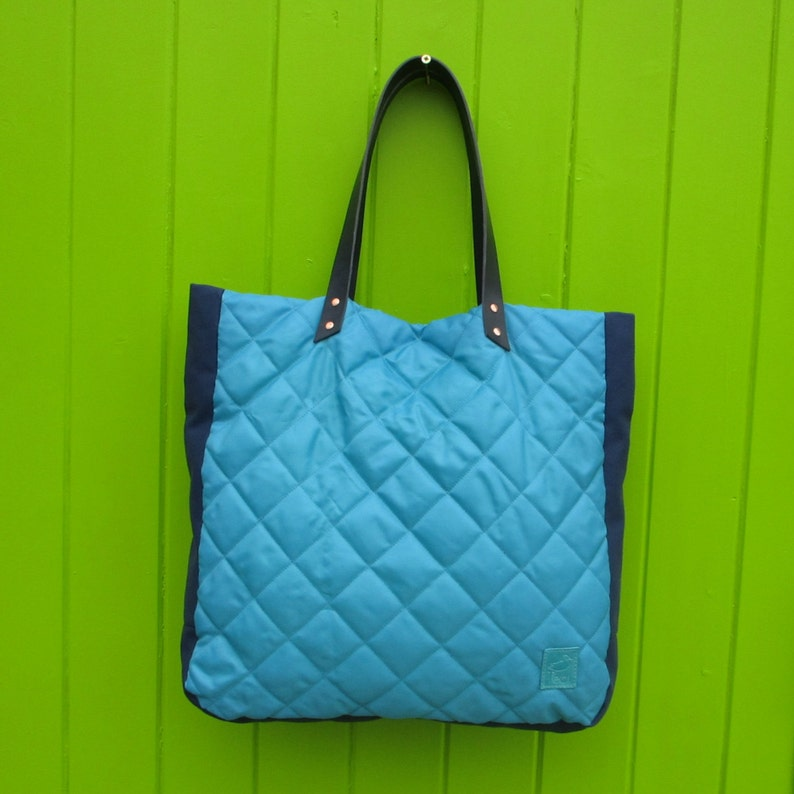 Turquoise quilted tote bag big bag laptop bag image 0