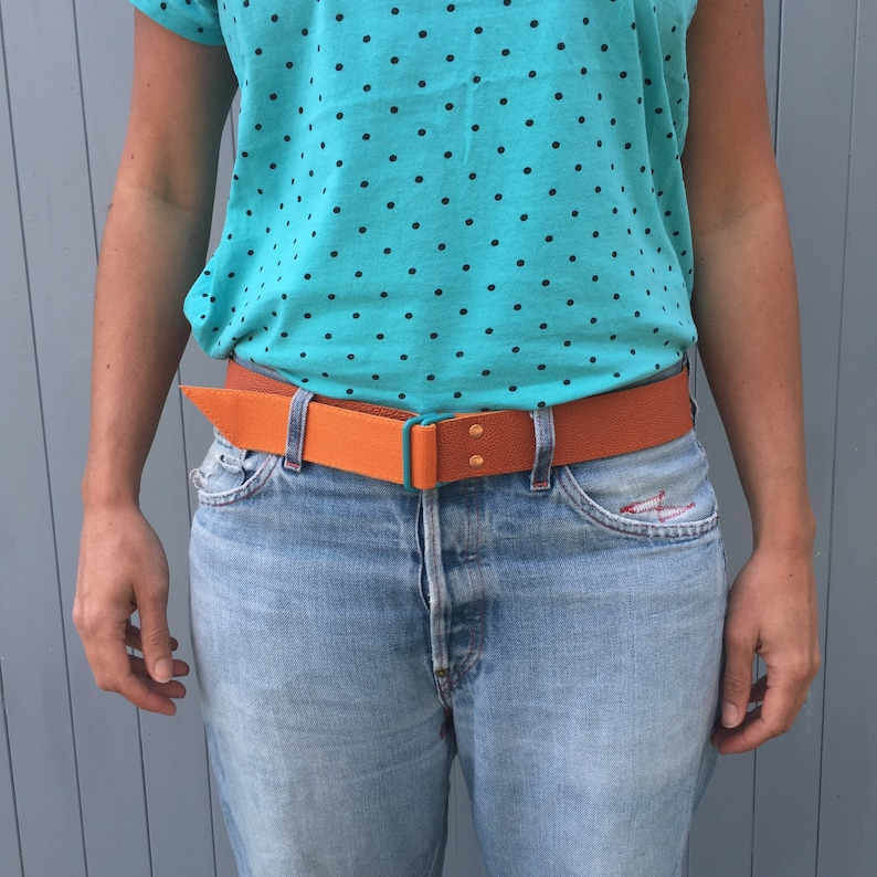 Basketball leather and orange webbing belt image 0