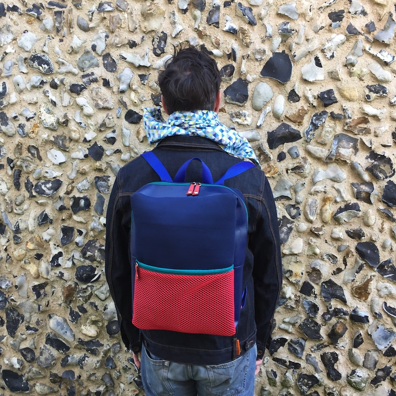Neoprene and recycled leather backpack image 0