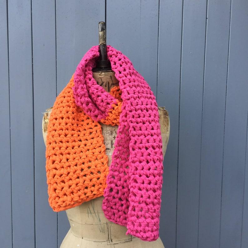 Orange and pink chunky scarf image 0