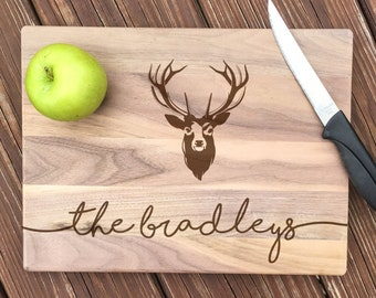 Rustic Wedding, Personalized Cutting Board, Deer Antler, Deer Head, Hunting Gifts, Wedding Gift, 5th Anniversary, 5th Anniversary Gift, Deer