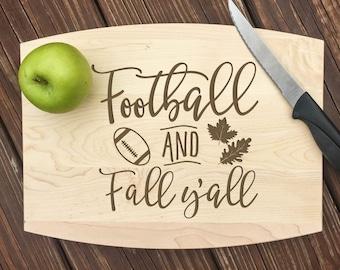 Football, Fall Decor, Fall Decorations, Personalized Cutting Board, Autumn Decor, Fall Gift, Kitchen Decor, Kitchen Signs, Cutting Board