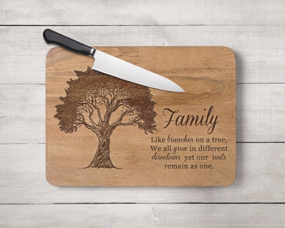 Housewarming Gift Wooden wedding anniversary Engraved cutting board Personalized Cutting Board with Tree Personalized Wedding gift