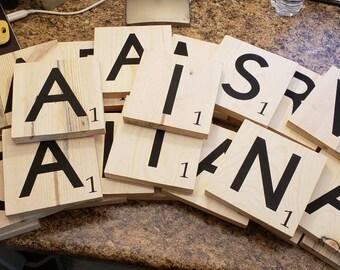 35 scrabble tiles wooden blocks letter blocks