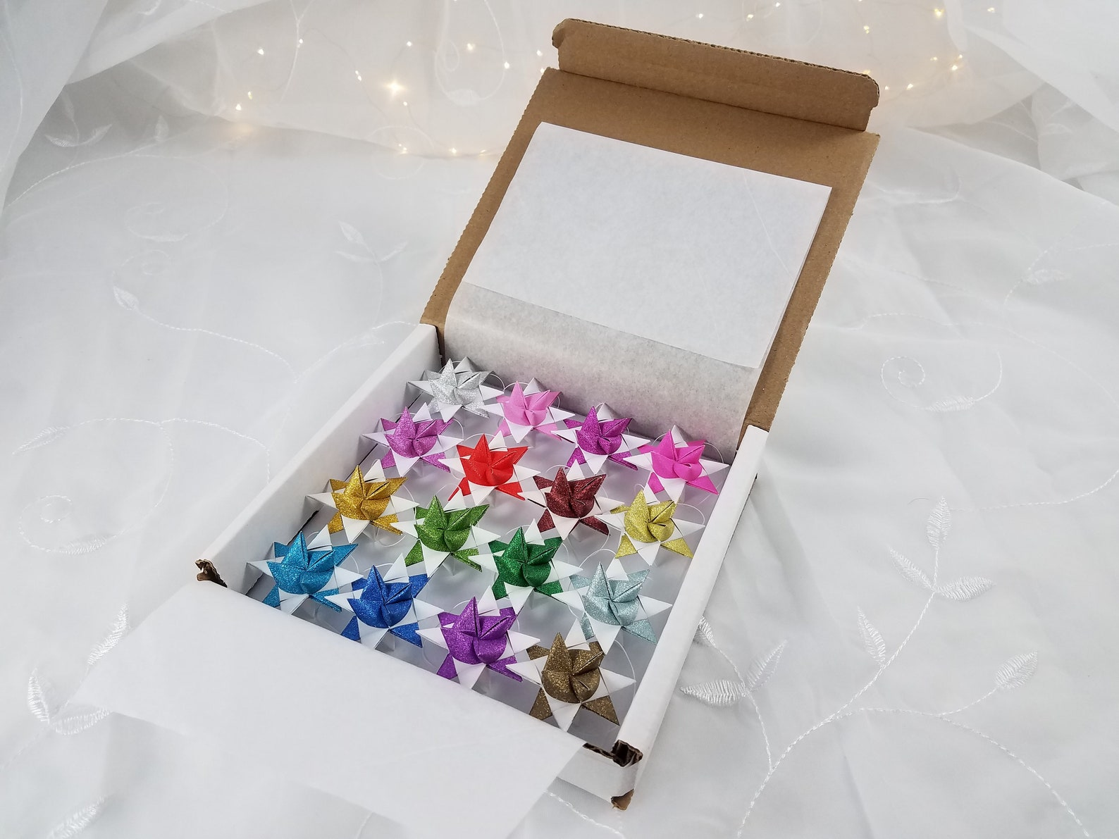 Glittery Moravian Stars - Set of 16 - Traditional Christmas Ornaments - aka Froebel Stars - Great for New Years too!