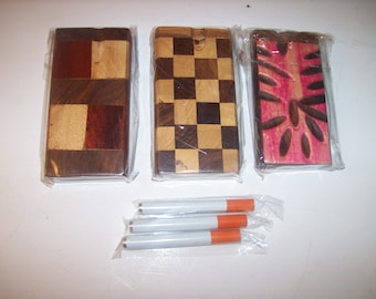 Lot of Three (3) Wood Dugout One Hitters with Cigarette Style Aluminum Bats - Various Decorative Designs
