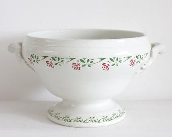 Antique French White Ironstone Soupiere/Tureen