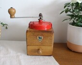 Vintage French Peugeot Freres Wooden Red Metal Coffee Grinder