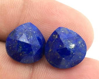 Sale Natural Lapis Lazuli Pear Briolette 12x12 MM / Lapis Pair / Blue Gemstone / Lapis Jewelry / for Fine Jewelry Collection. Price by Pair