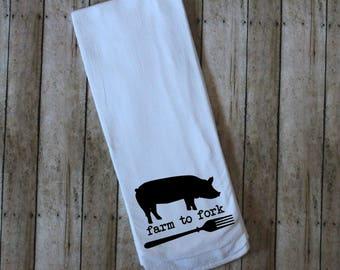 Merveilleux Farm To Fork Flour Sack Tea Towel, Pig Towel, Pig Kitchen Towel, Country  Dish Cloth, Pig Decor, Kitchen Linen, Farm To Fork Decor, Farmhouse