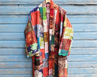 23fc8de8d7 Kantha Kimono,Sari Silk Robe,Patchwork, Boho Wear, Kantha Coat, Handmade, Kantha  Ladies, Vintage Coat, Festival Fashion.