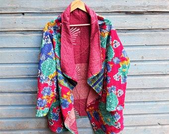 2d7f54de16 Kantha Jacket,Reversible, Hand Quilted Jacket, Boho Wear, Kantha Coat,  Handmade, Vintage Coat, Festival Fashion,Medium