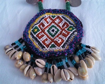 Vintage Beaded Afghan Tribal Kuchi Necklace.
