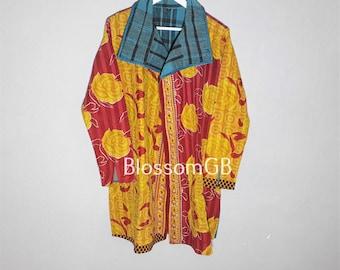 Kantha Coat, Quilted Jacket,Kantha Jacket, Boho Wear, Kantha Ladies, Vintage Coat, Festival Fashion. UK12/14 EU40/42 US8/10.