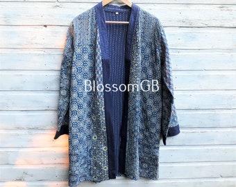 Kantha Jacket, Block Print, Indigo, Boho Wear, Kantha Coat, Handmade, Vintage Coat, Festival Fashion. UK14/16 EU42/44 US10/12.