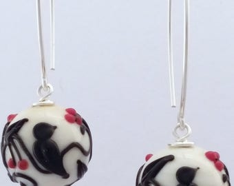 Beautiful bird and cherry Murano glass sterling silver earrings