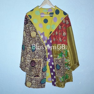 UK810 EU3638 US646. Quilted Jacket Boho Wear Hand Quilted Jacket Handmade Printed Kantha Jacket Kantha Coat Kantha Ladies