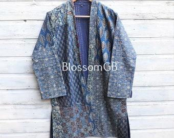 Kantha Jacket,Block Print, Indigo, Boho Wear, Kantha Coat, Handmade, Vintage Coat, Festival Fashion. UK10/12 EU38/40 US6/8.