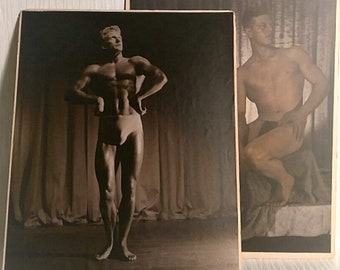 2 Orig. 1930's Muscleman Fitness Sepia Tone Photographs - 16x20