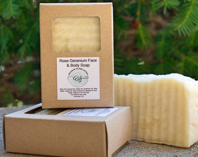 Rose Geranium Facial Soap Bar for sensitive and acne prone skin | Face Cleanser with Zinc Oxide | Single Bar or Uncut Loaf