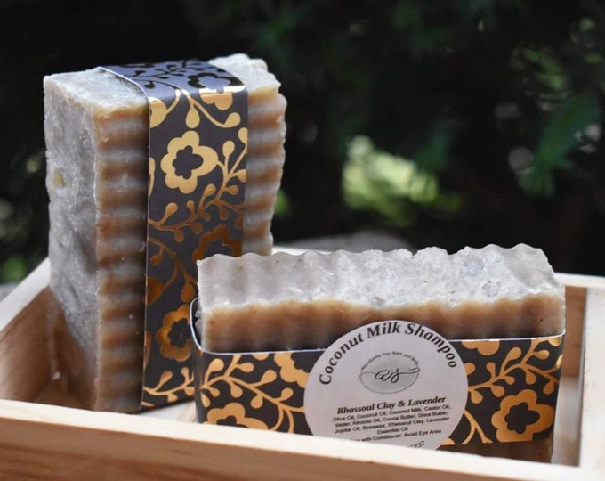 Featured listing image: Rhassoul Clay and Coconut Milk Shampoo Bar