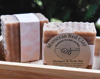 Moroccan Red Clay Shampoo Bar and Soap Bar | Rosemary Lavender Blend
