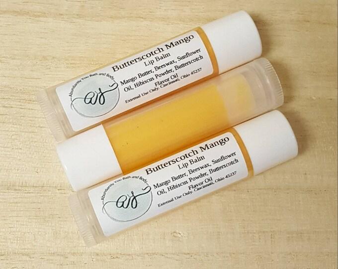 Butterscotch Lip Balm with Mango Butter   Lip Balm   Chapstick   Handmade Lip Balm   Hibiscus   Beeswax Lip Balm   Moisturizing Lip Salve