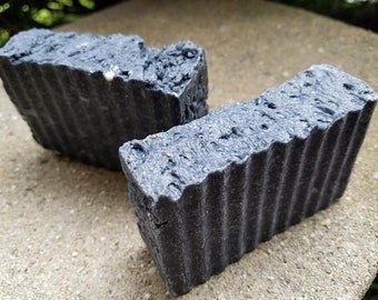 Activated Charcoal and Sea Salt Soap with Lemongrass-Lavender or Rosemary-Lavender Essential Oil Blend