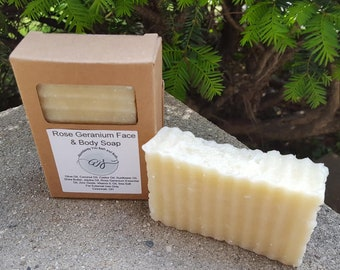 Rose Geranium Facial Soap Cleansing Bar with Zinc Oxide