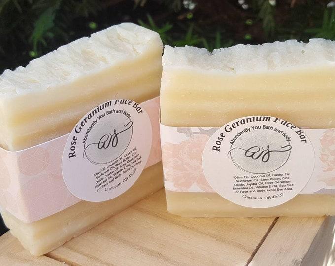 Facial Soap Bar | Acne | Rose Geranium Essential Oil Soap | Facial Cleanser | Natural Soap | Face Cleanser | Acne Soap | Self Care | Vegan