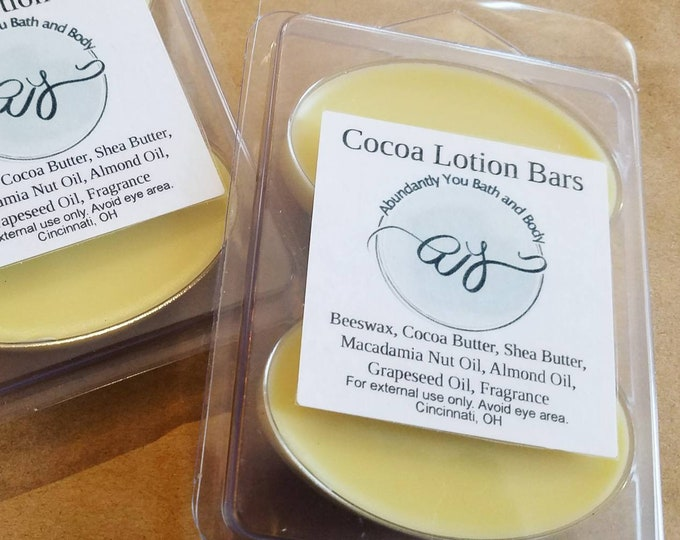 Cocoa Butter and Beeswax Solid Lotion Bars