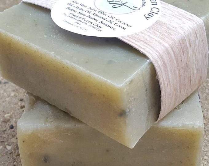 Aloe Vera and French Clay Soap | Vegan Soap | Natural Soap | French Green Clay | Clay Soap |  Fragrance Free Bar | Artisan Soap | Aloe Soap