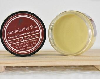 Sandalwood Deodorant Cream, Aluminum Free Natural Deodorant