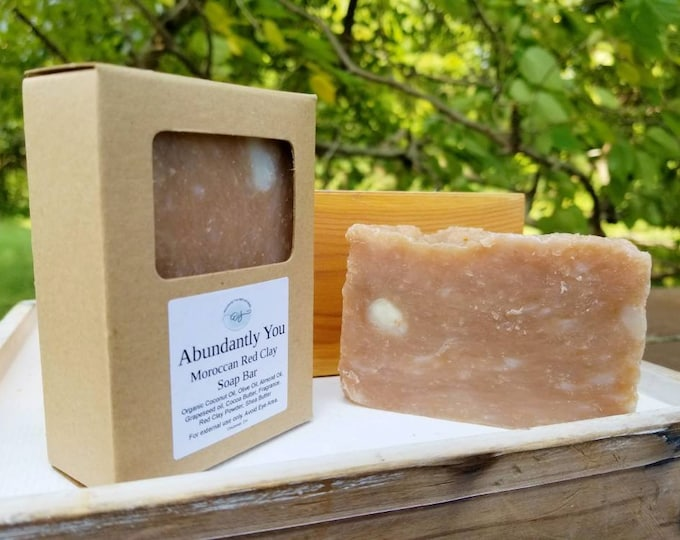 Moroccan Red Clay Soap Bar with Floral Fragrance, Rustic Soap