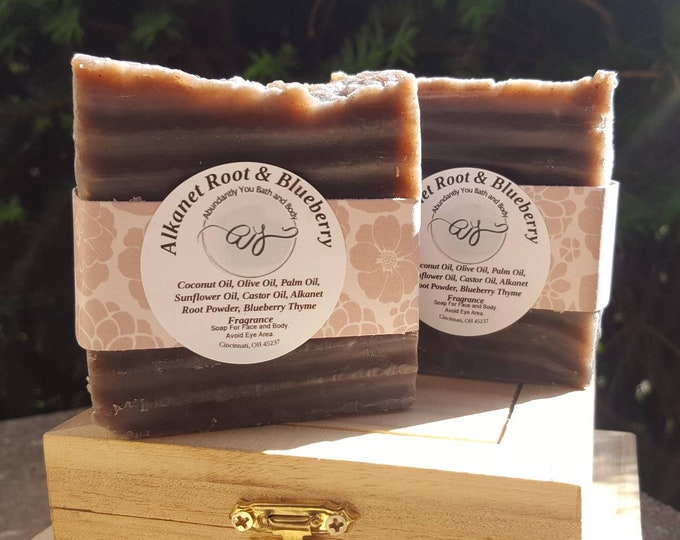 Alkanet Root Powder Soap Bar | Blueberry Thyme | Vegan | Soap Bar | Vegan Soap | Fragrance Soap | Rustic Soap | Artisan Soap | Purple Soap