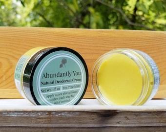 Natural Deodorant, Tea Tree Rosemary Mint Essential Oil, Aluminum Free, Gentle
