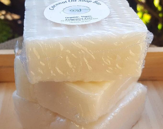 Vegan Organic Coconut Oil Soap | Organic Soap | Handmade Soap | Fragrance Free | Homemade Soap | Vegan Soap