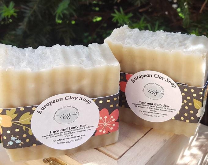 European Clay Soap Bar | Handmade Soap | Vegan Soap | Natural Soap | Facial Soap | Shea Butter Soap | Artisan Soap