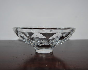 Vintage Sun Purple Etched Sugar Bowl with Sterling Base  ~~  Crystal Etched Sugar Bowl  ~~   Sterling Hallmark Footed Crystal Bowl