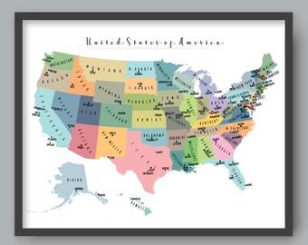 US State Map, PRINTABLE USA Map Kid nursery Modern home decor (#P365)