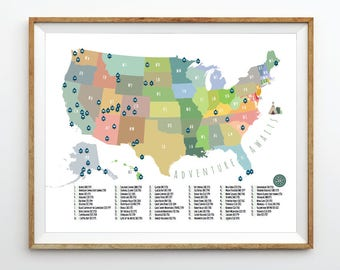 National parks map   Etsy