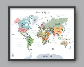 Kids world map etsy world map with gumiabroncs Images