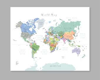 Modern world map etsy world map with countries printable wall art kid nursery modern home decor p342 gumiabroncs Gallery