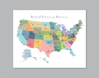 Us National Park Map Printable Adventure Awaits Us National Etsy