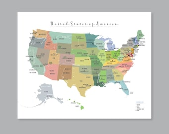 Us state map   Etsy