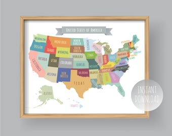 United states map | Etsy