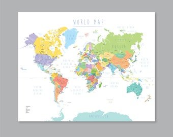 picture regarding Printable Map of World called Printable planet map Etsy