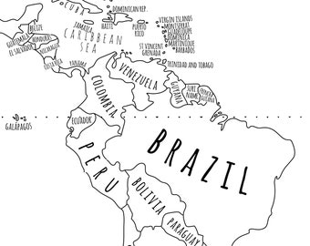 picture regarding Map of the World Black and White Printable titled Black white map Etsy