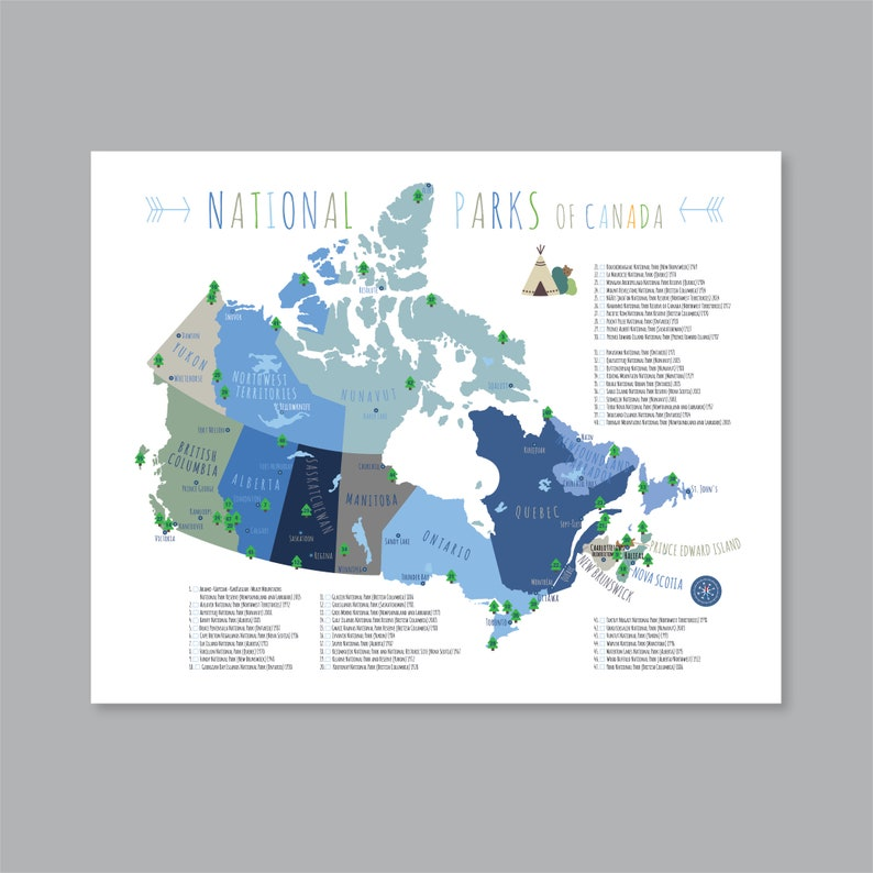 Canada National Parks Map PRINTABLE National Park Poster Kid | Etsy